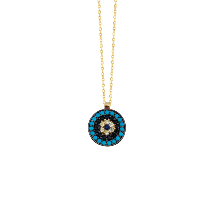 Women's Gemmed Evil Eye Pendant 14k Gold Necklace
