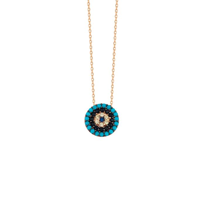 Women's Gemmed Evil Eye Pendant 14k Gold Necklace