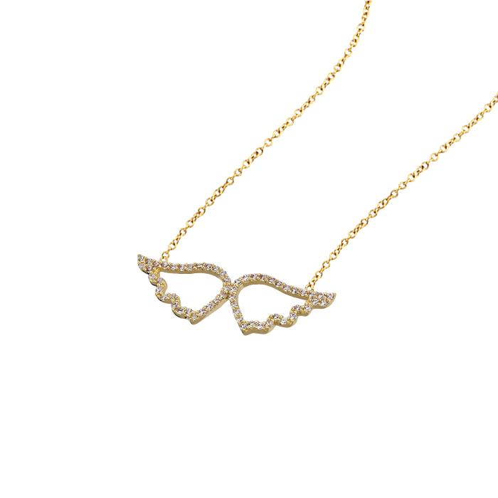 Women's Gemmed Angel Wing Pendant 14k Gold Necklace