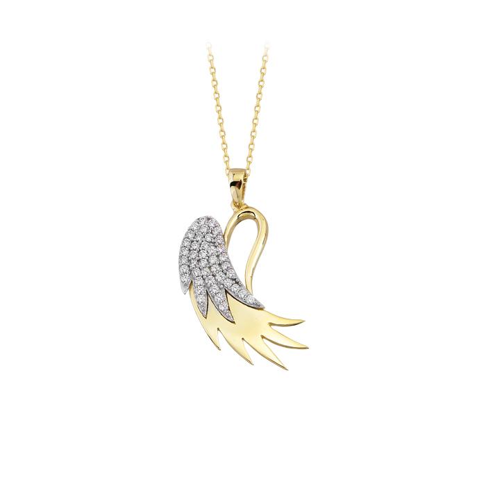 Gemmed Angel Wing Pendant 14k Gold Necklace