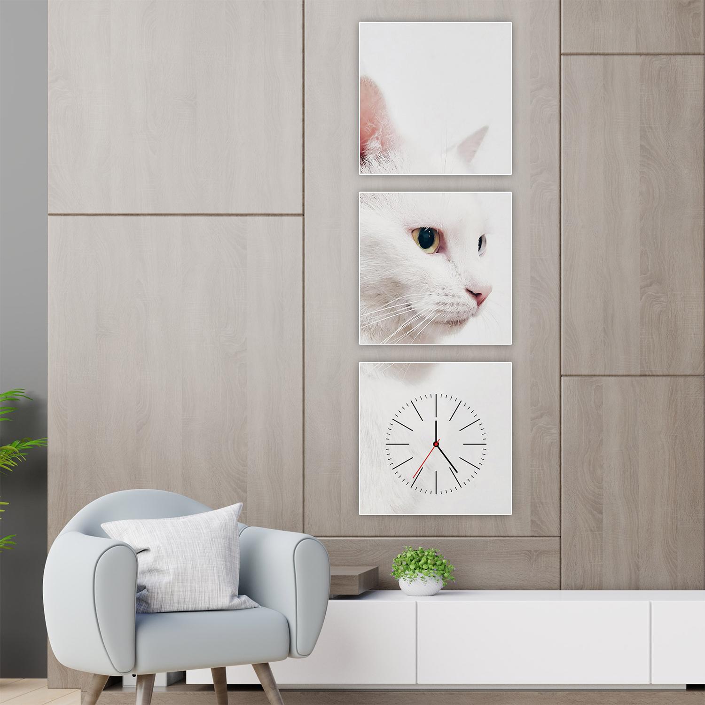 ساعة حائط بلوحة مزخرفة برسمة قطة