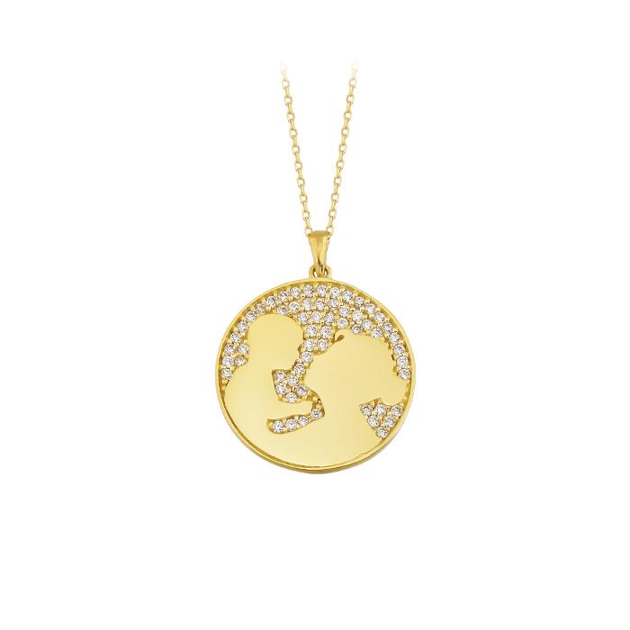 Women's Gemmed World Pendant 8 Carat Gold Necklace