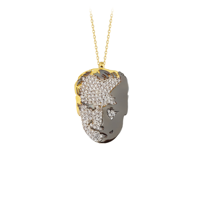 Gemmed Atatürk Pendant 8 Carat Gold Necklace