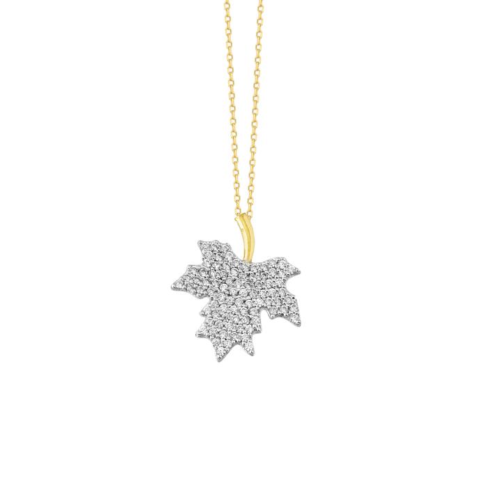 Women's Gemmed Leaf Pendant 8 Carat Gold Necklace
