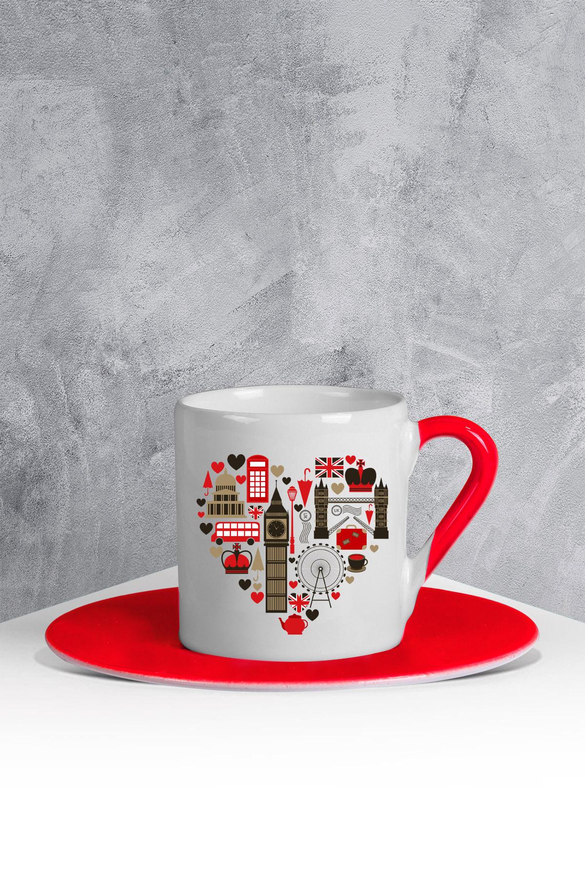 كوب قهوة أحمر أبيض بطبعة