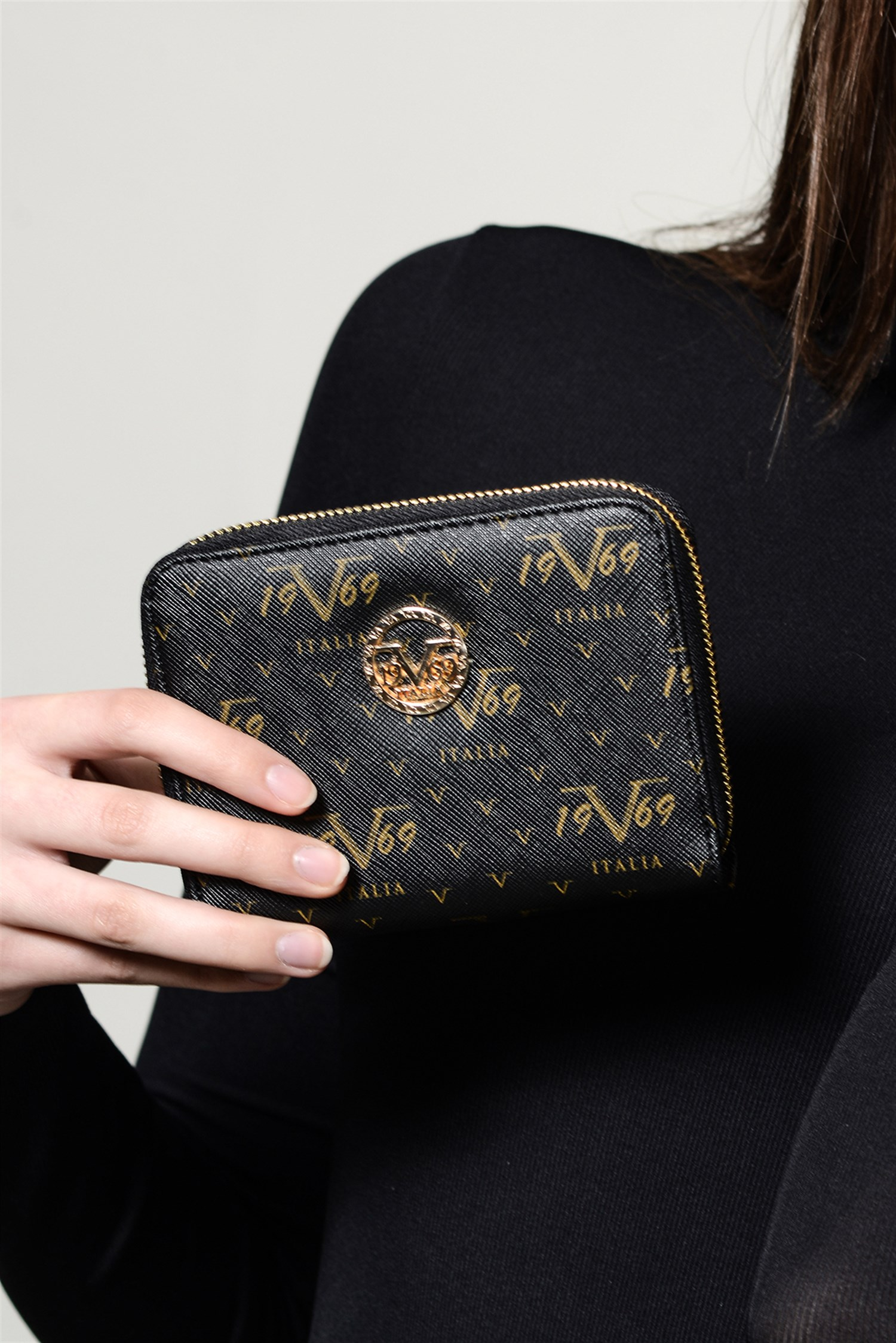 Women's Patterned Black Wallet