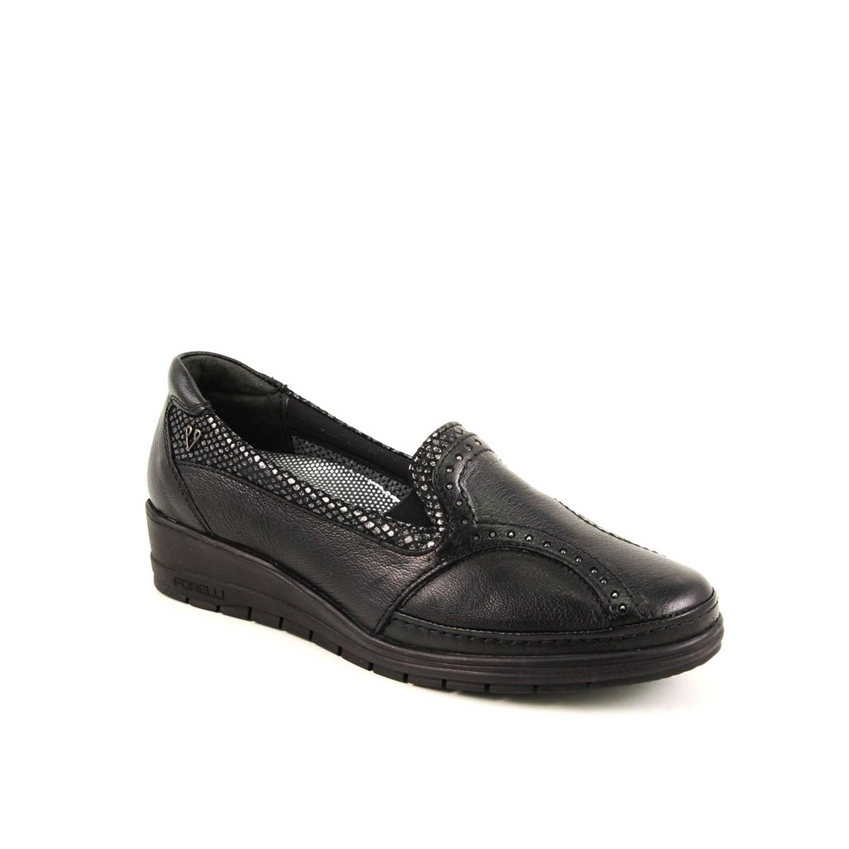 Women's Black Leather Comfort Shoes