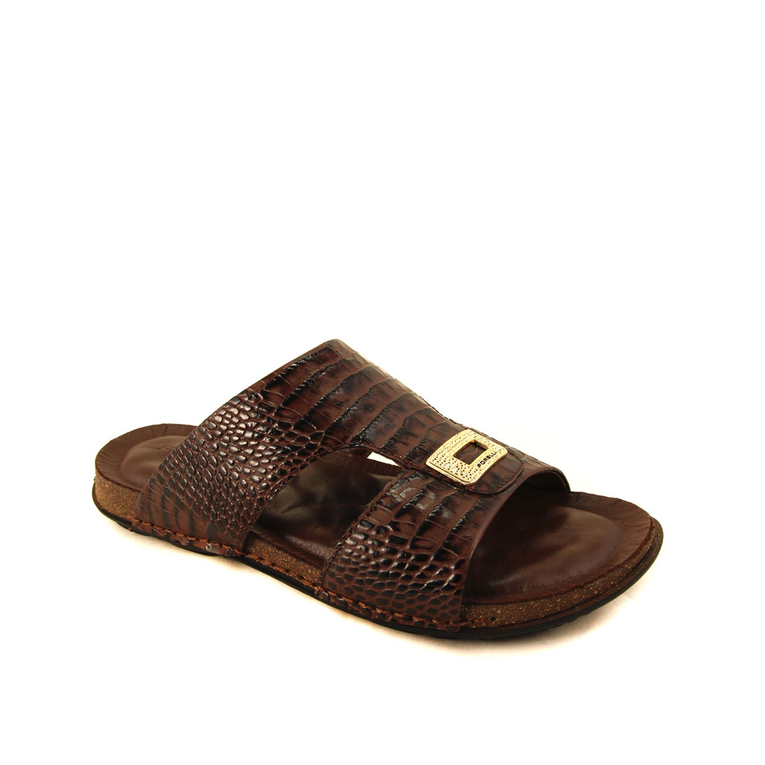 Men' Brown Leather Slippers