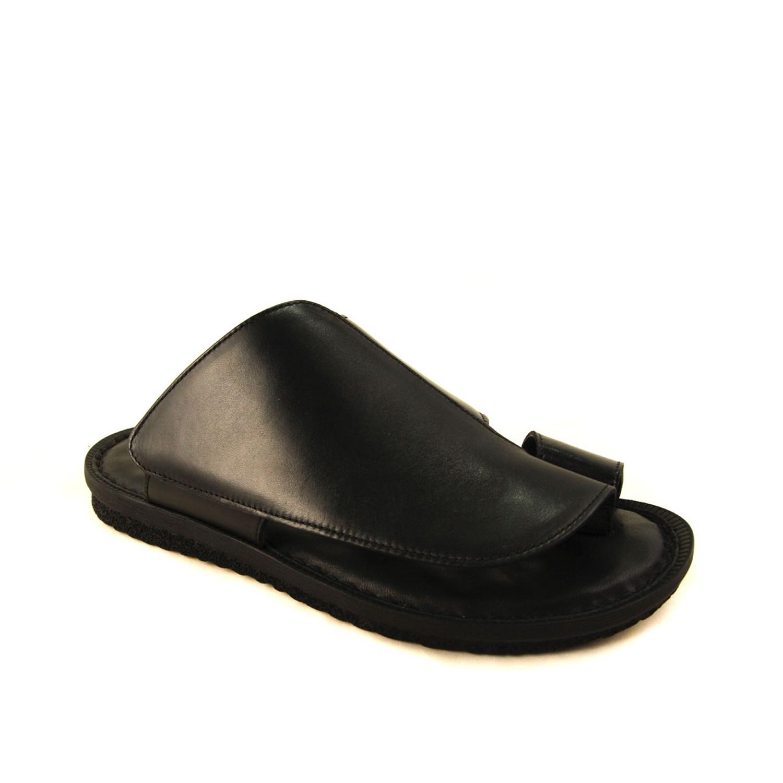 Men's Black Leather Slippers