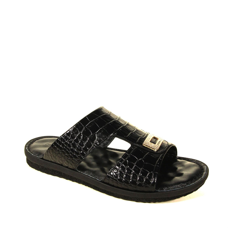 Men's Black Crocodile Slippers
