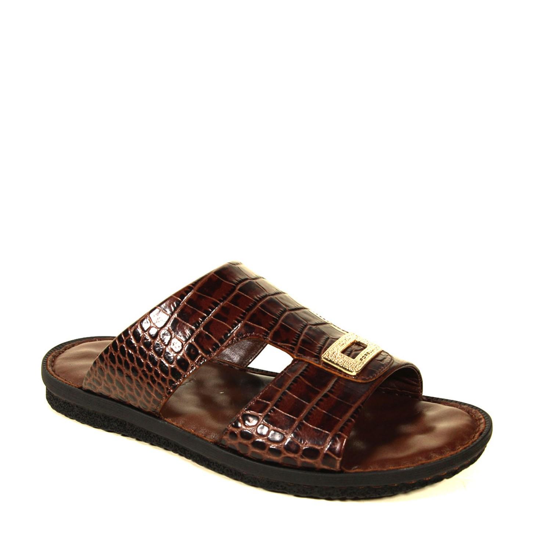 Men's Brown Crocodile Slippers