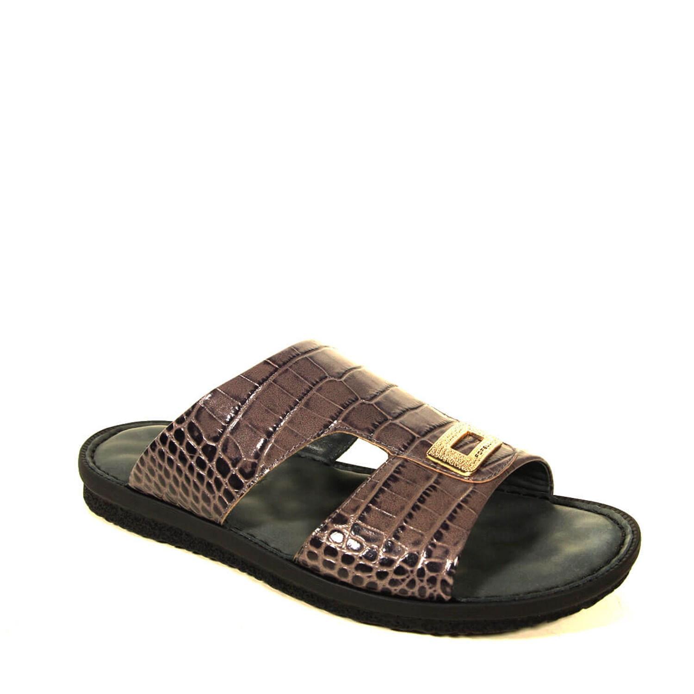 Men's Crocodile Print Leather Slippers