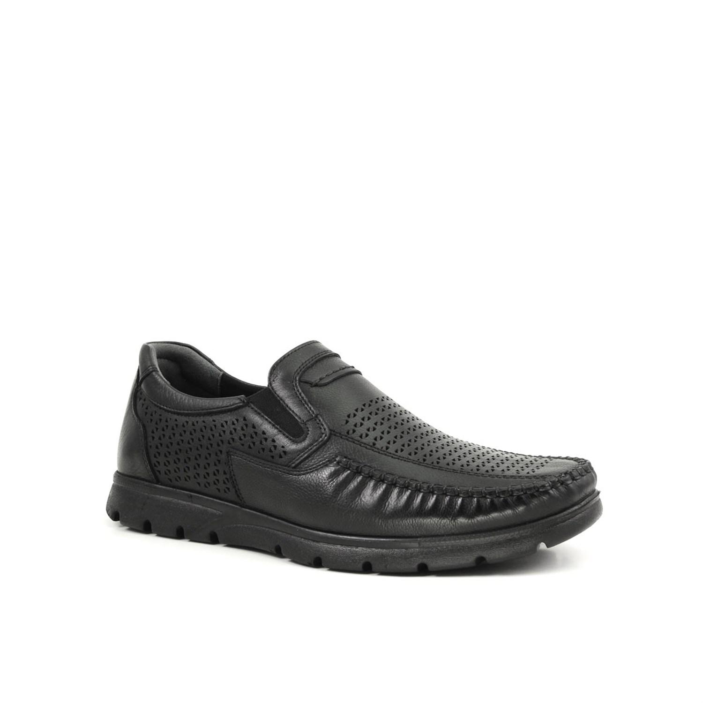 حذاء مريح جلد أسود رجالي