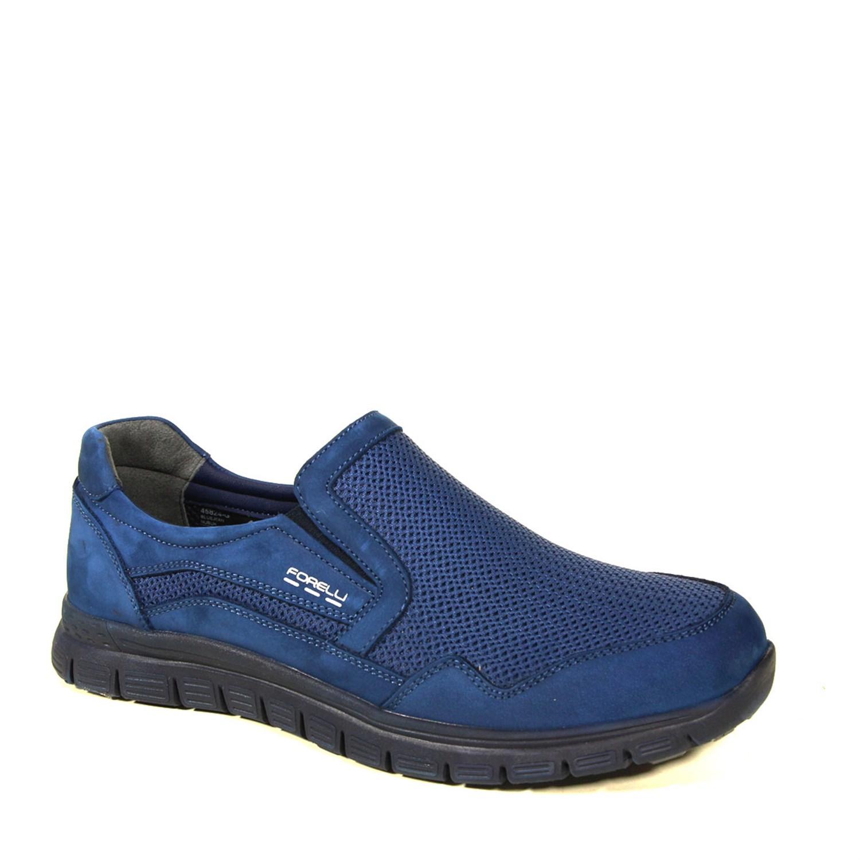 Men's Navy Blue Nubuck Leather Sport Shoes