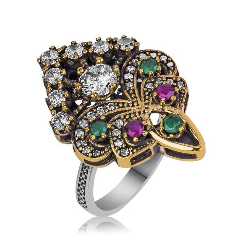Women's Multi-color Gemmed Silver Authentic Ring