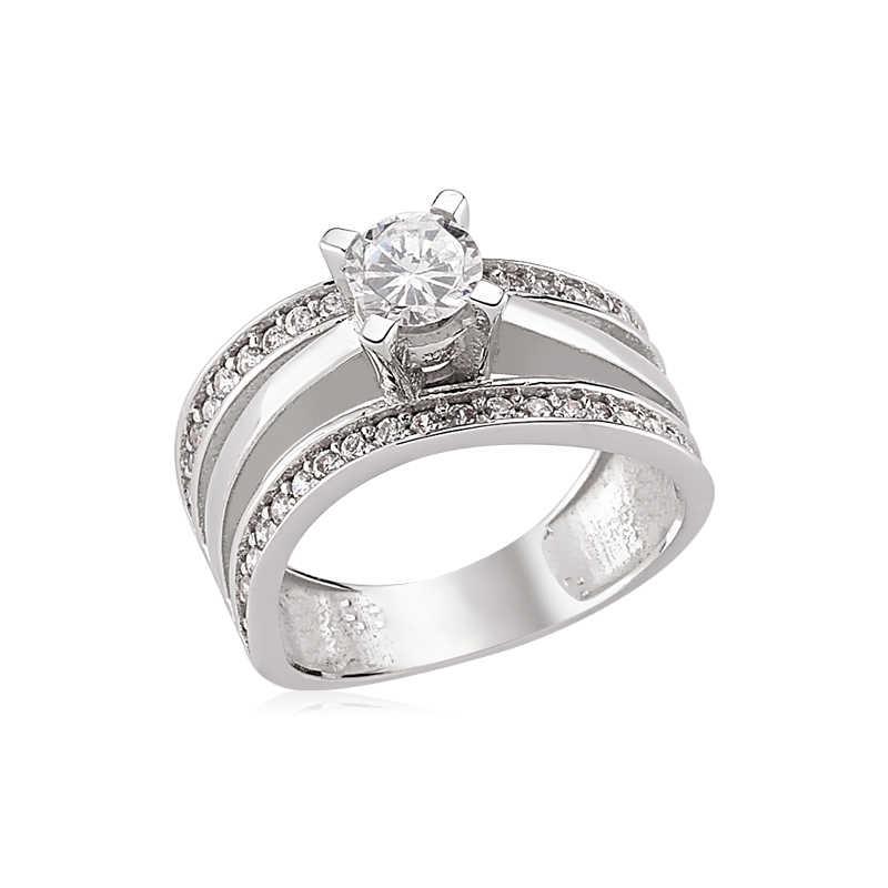 Silver Single Stone Ring