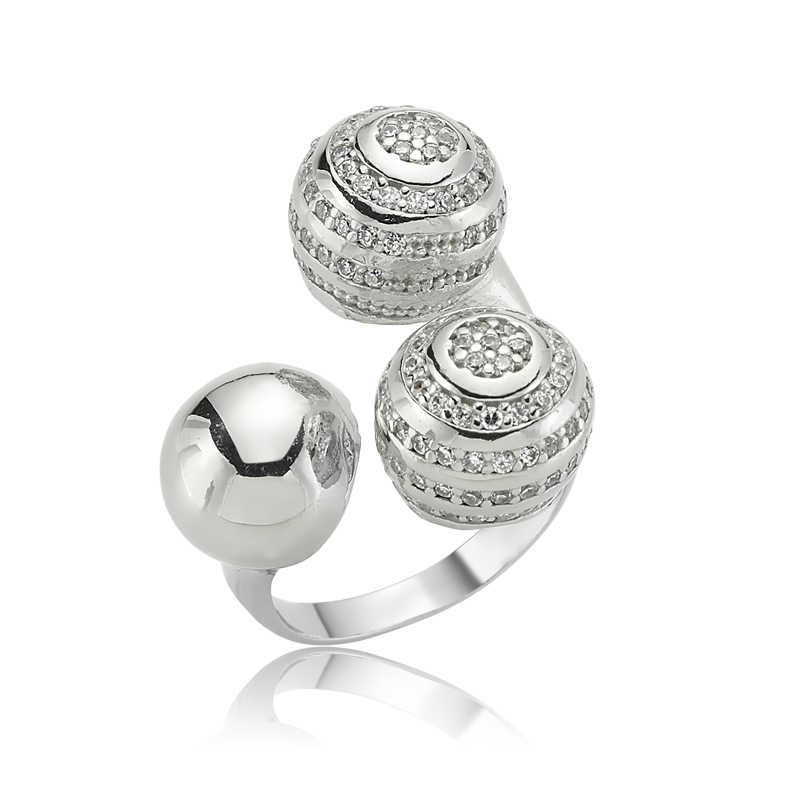 Women's 3 Balls Design Silver Ring