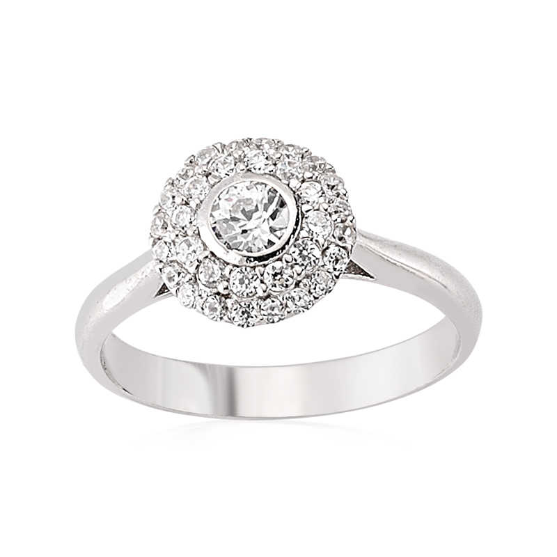 Women's Zircon Gemmed Silver Ring