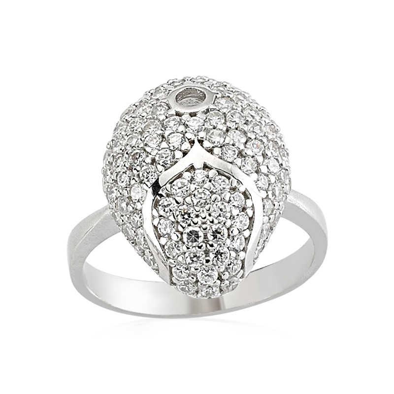 Women's White Gemmed Silver Ring