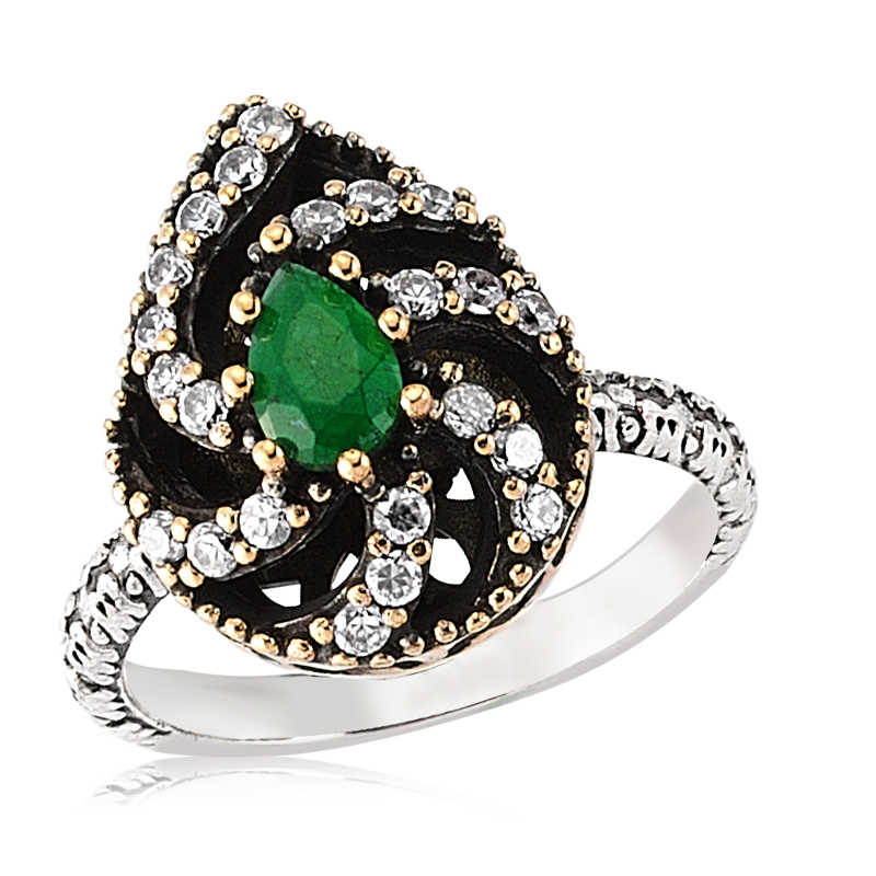 Women's Green Gemmed Silver Authentic Ring