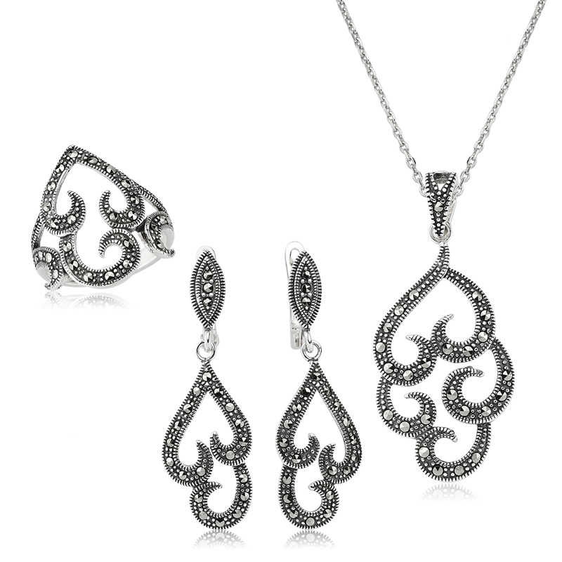 Women's Marcasite Gemmed Silver Necklace, Ring & Earrings Set