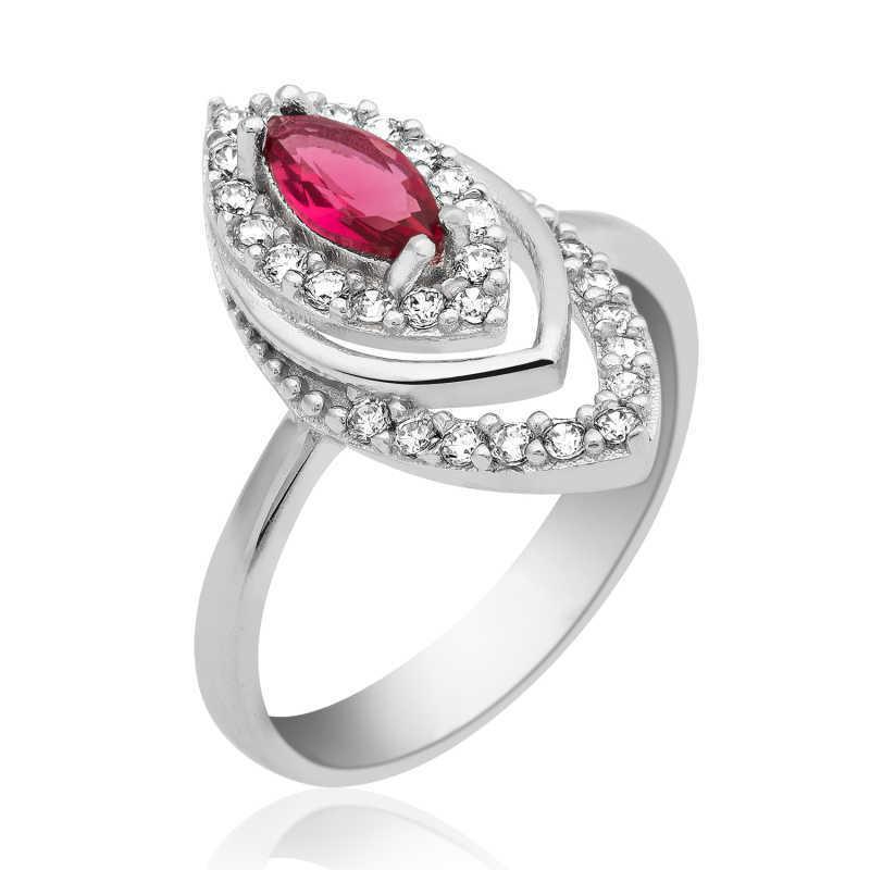 خاتم فضة بفص أحمر نسائي