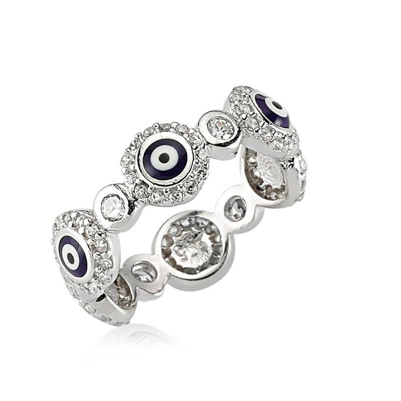 Women's Evil Eye Design Silver Ring