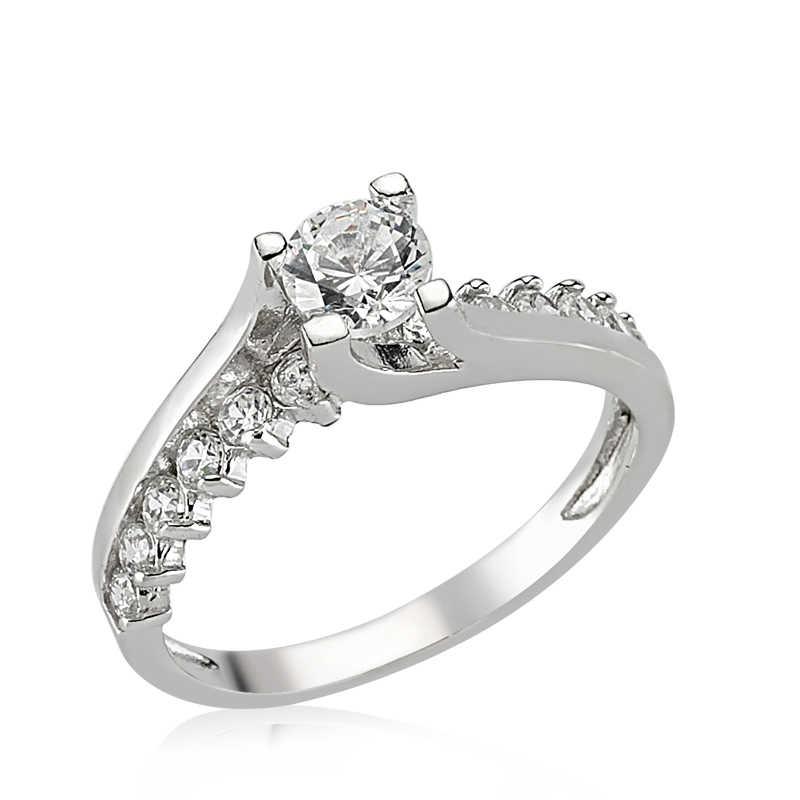 خاتم فضة بحجر واحد نسائي