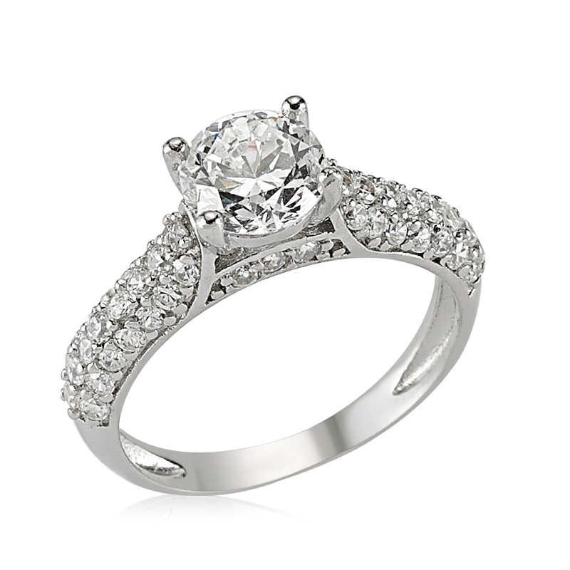 Women's Silver Single Stone Ring
