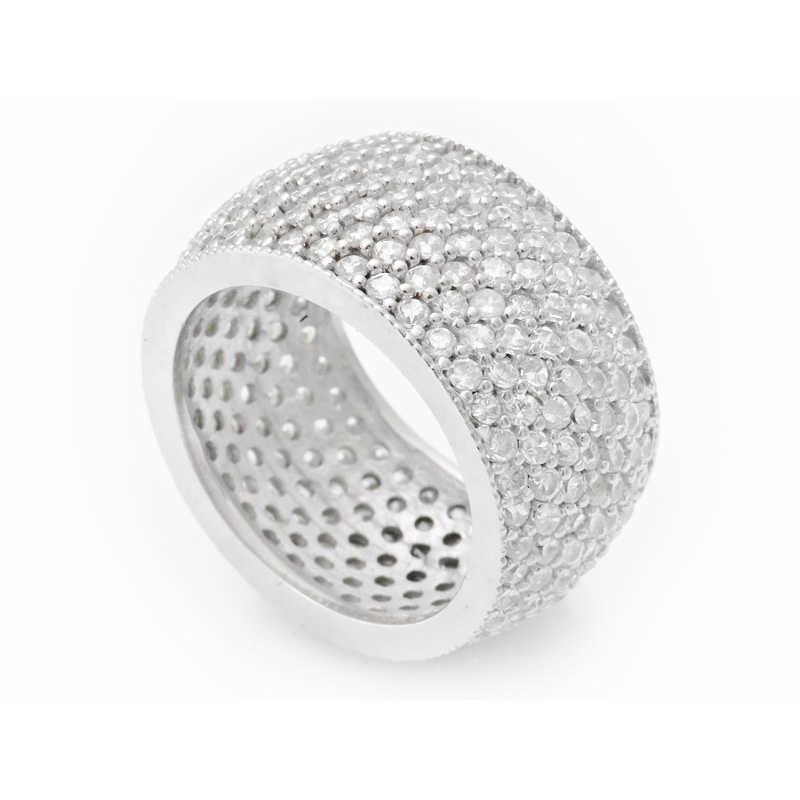 خاتم فضة 7 طبقات بفصوص بيضاء نسائي