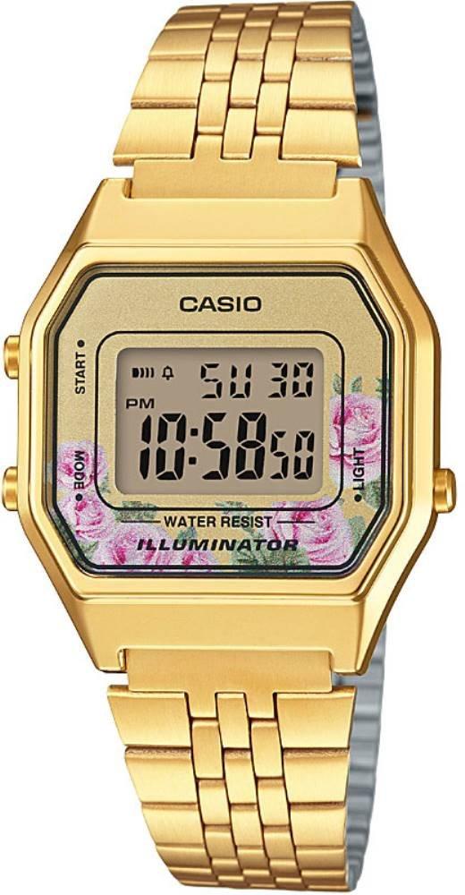 ساعة يد رقمية ذهبي بإطار مربع نسائية