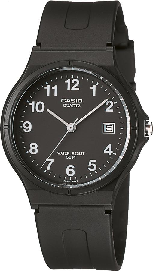 ساعة يد سوداء بإطار دائري رجالي