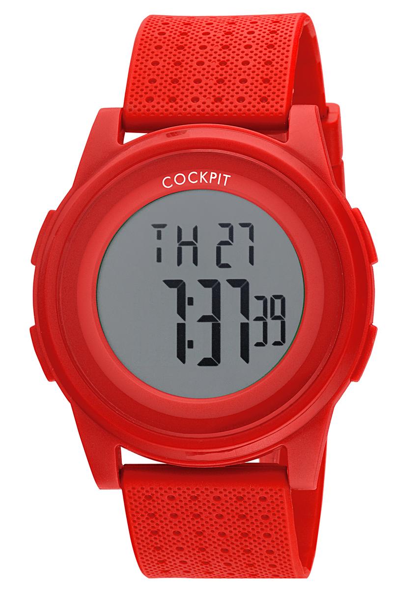 ساعة يد حمراء بإطار دائري رجالي