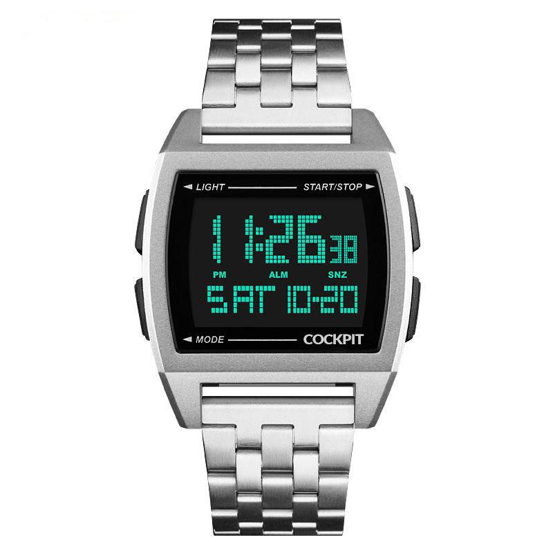 ساعة يد رقمية فضي رجالي