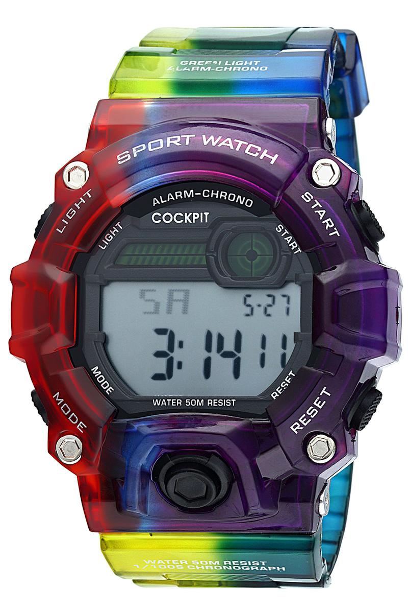 ساعة رياضة متعددة الألوان رجالي