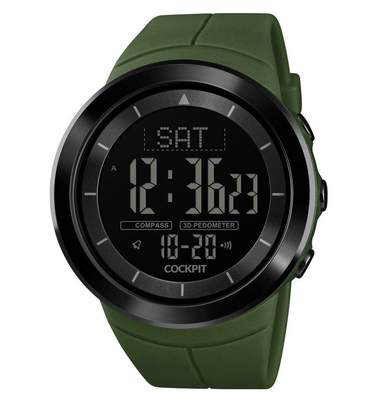 ساعة يد بسوار أخضر و إطار معدني رجالي
