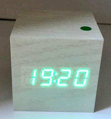 Beige LED Table Clock