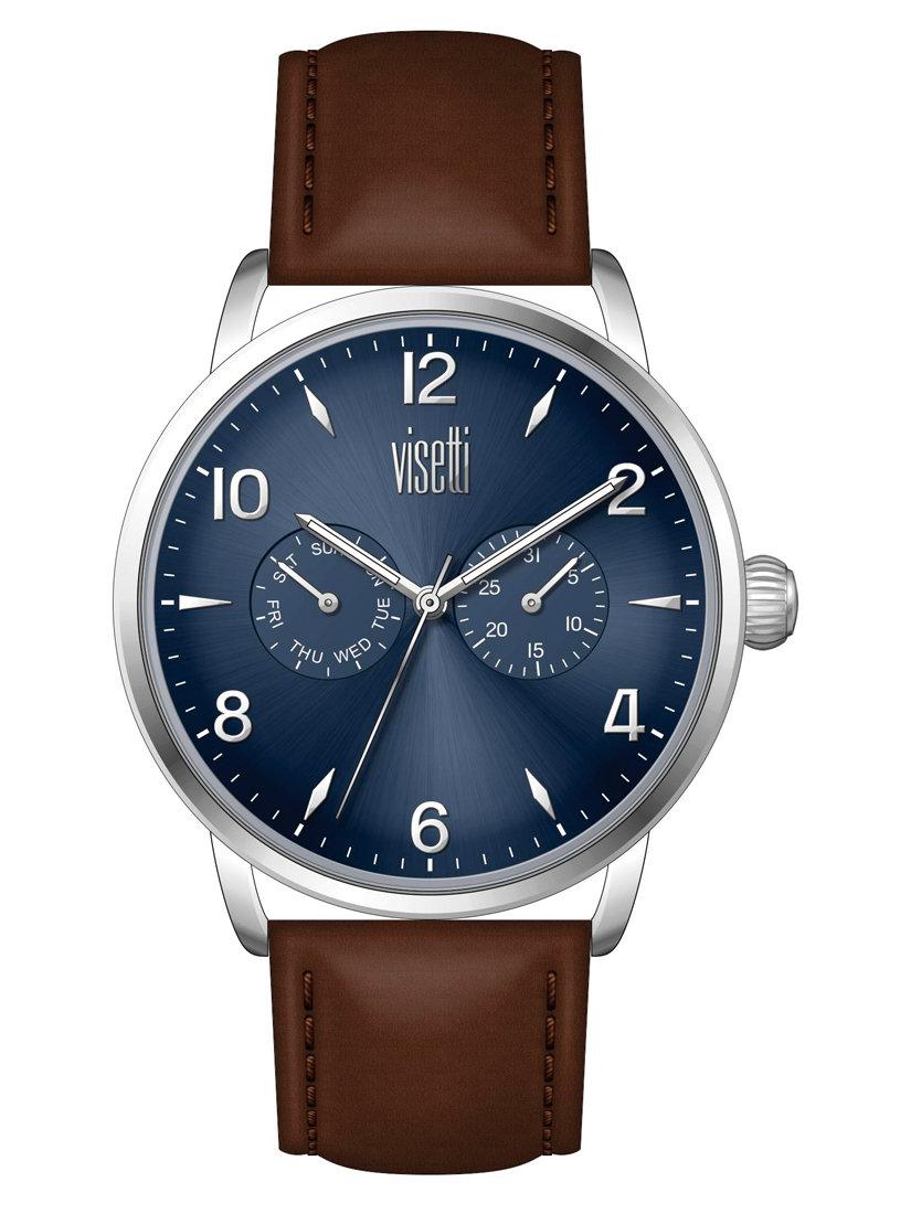 ساعة يد بسوار بني و إطار معدني رجالي