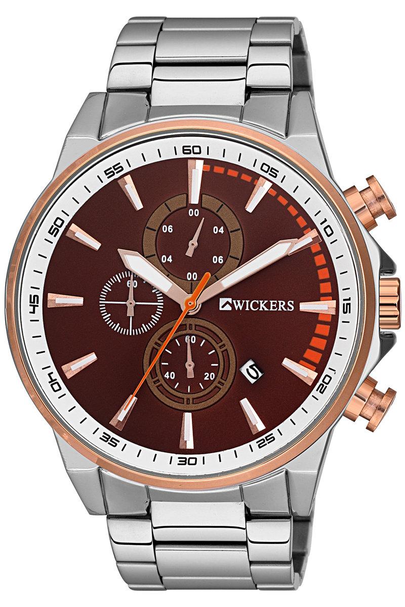 ساعة يد معدنية فضية بإطار دائري رجالي
