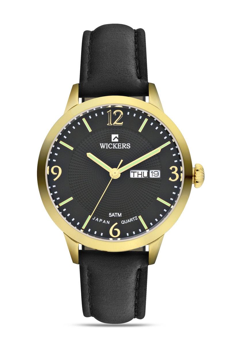 ساعة يد سوداء بإطار معدني دائري نسائية