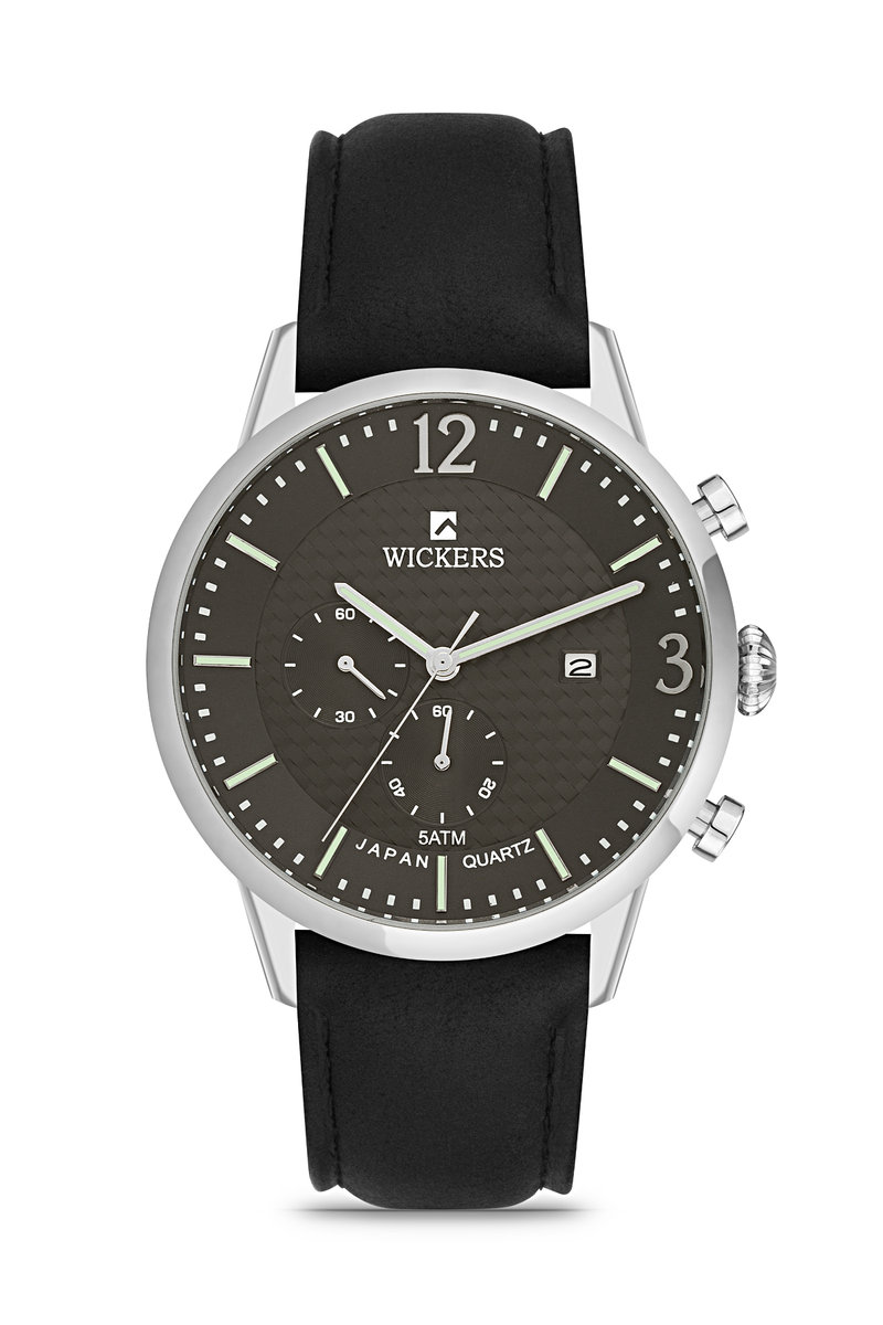 ساعة يد بسوار أسود وإطار معدني دائري رجالي
