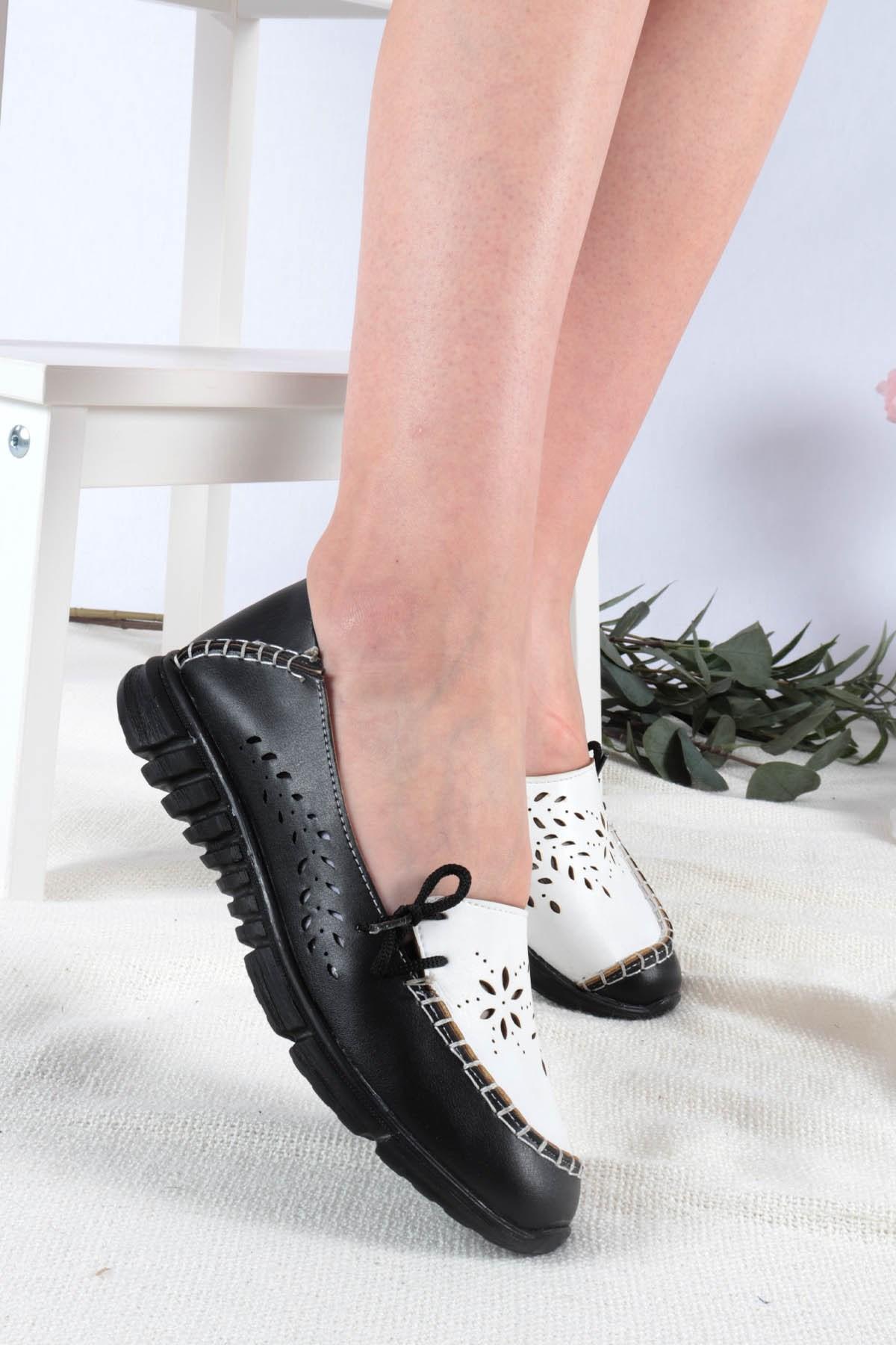 Women's Black – White Flat Shoes