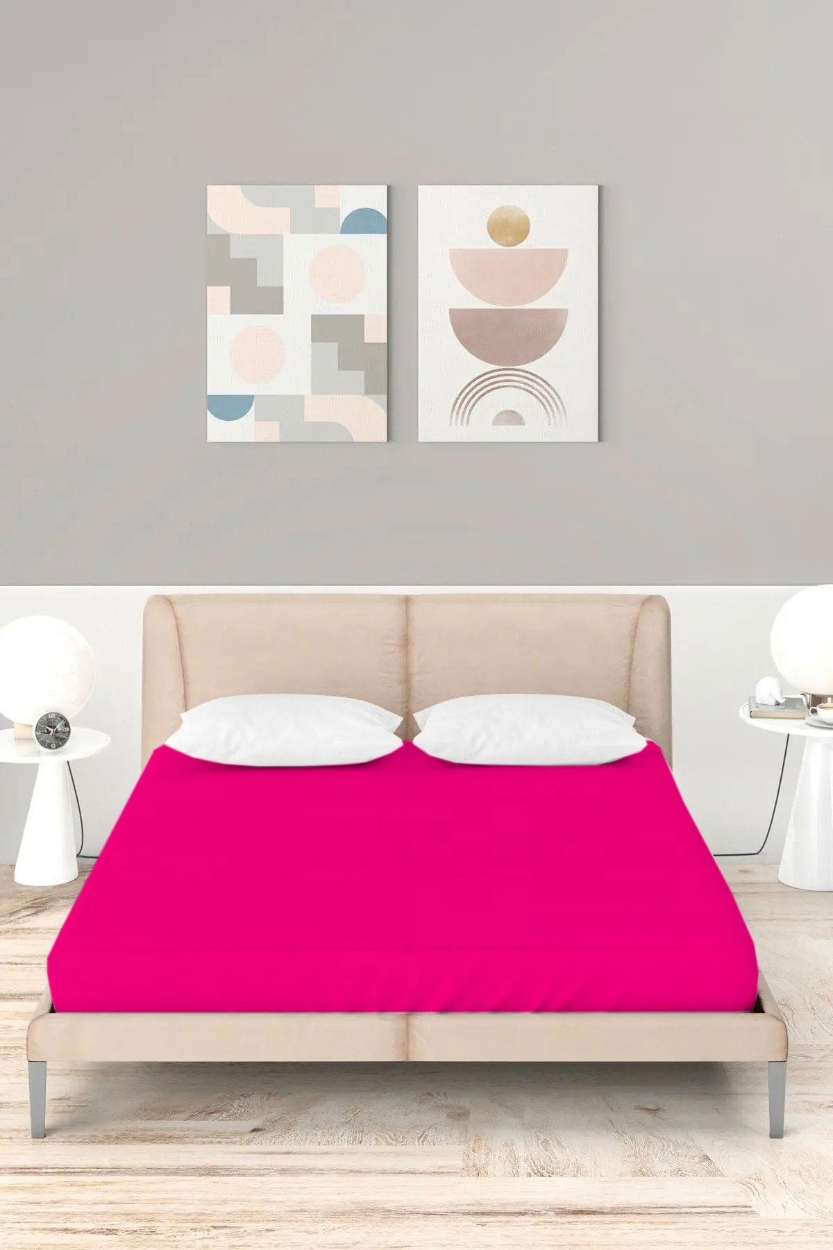 ملاية سرير مزدوجة مرنة قطن- 160*200 سم