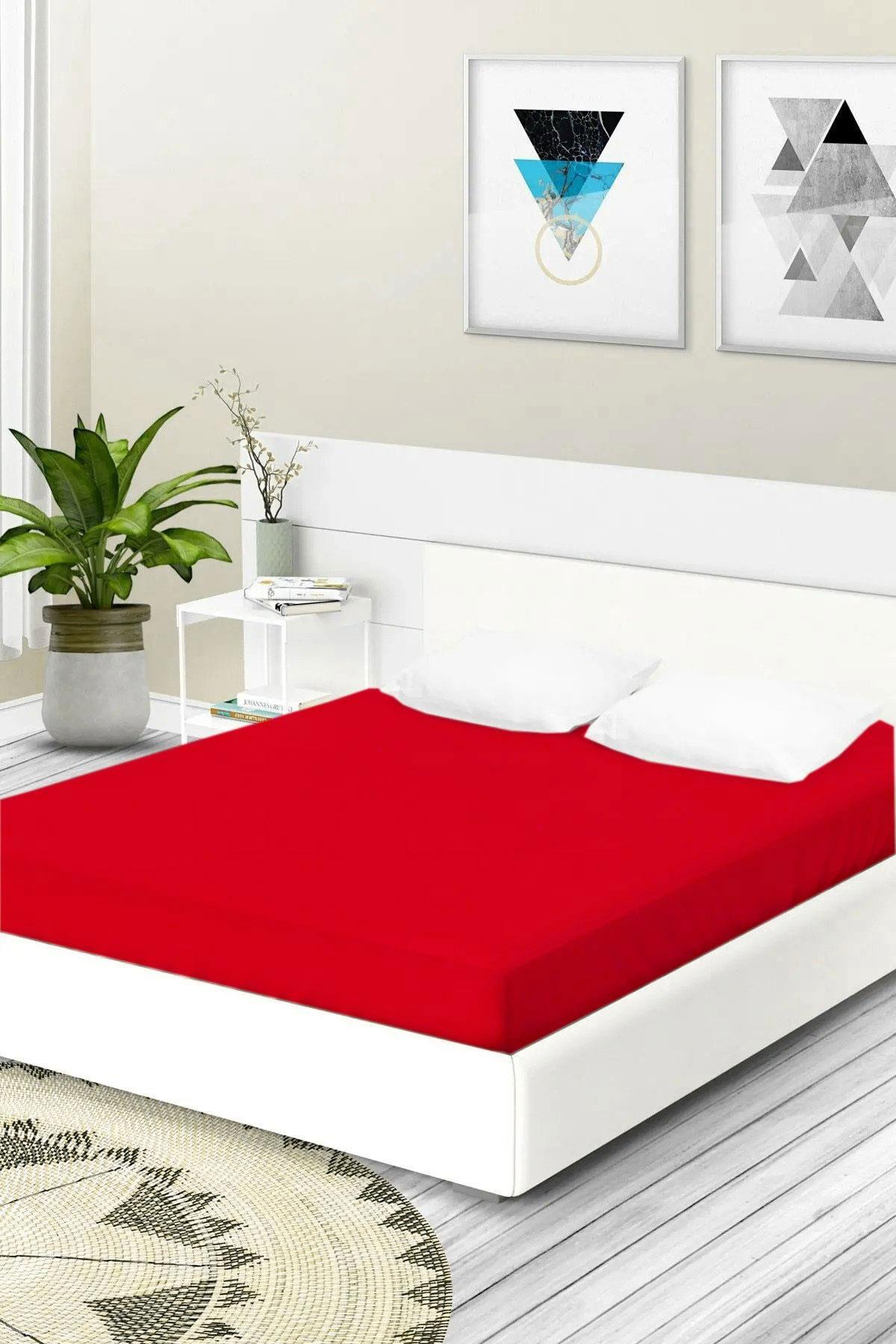 ملاية سرير مزدوجة مرنة قطن- 180*200 سم