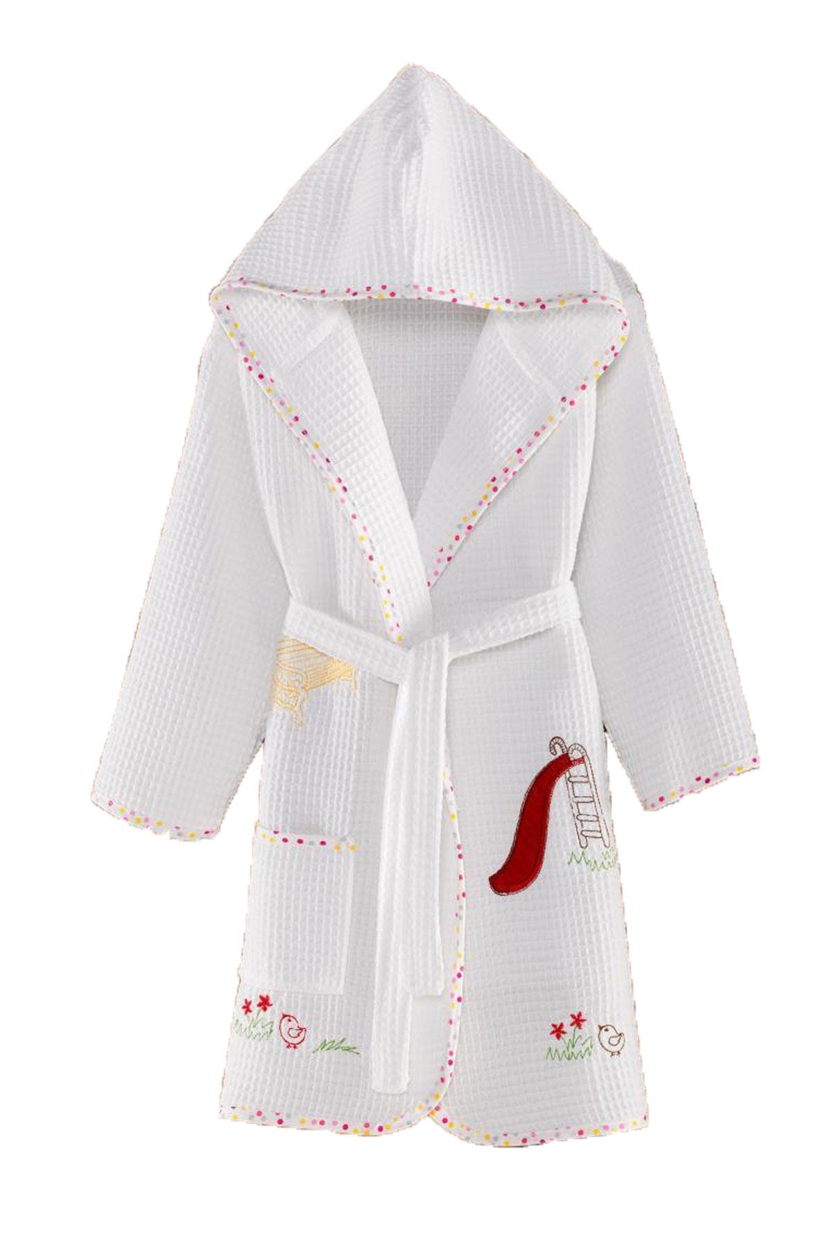 Girl's Teddy Bear Embroidered Cotton Pique Bathrobe (Ages 1-8)