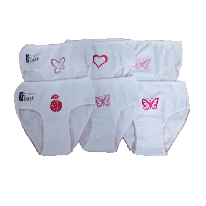 Girl's Gemmed Panty- 6 Pieces