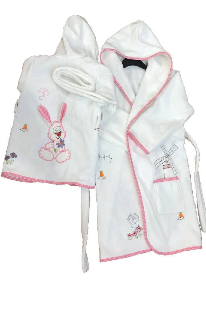 1-8 Ages Girl's 3D Embroidered Bathrobe