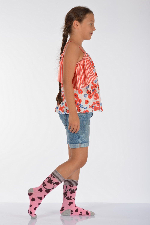 جوارب متوسطة وردي مزخرفة بقلوب بناتي- 3 أزواج