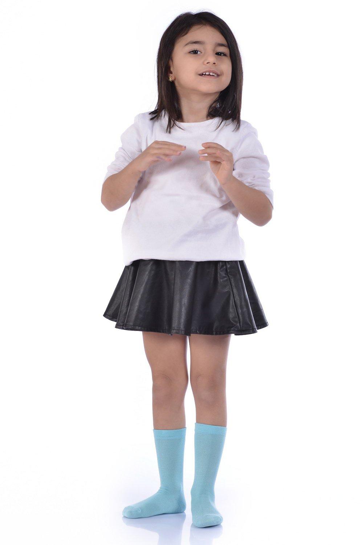 Girl's Plain Blue Bamboo Socket Socks- 3 Pairs