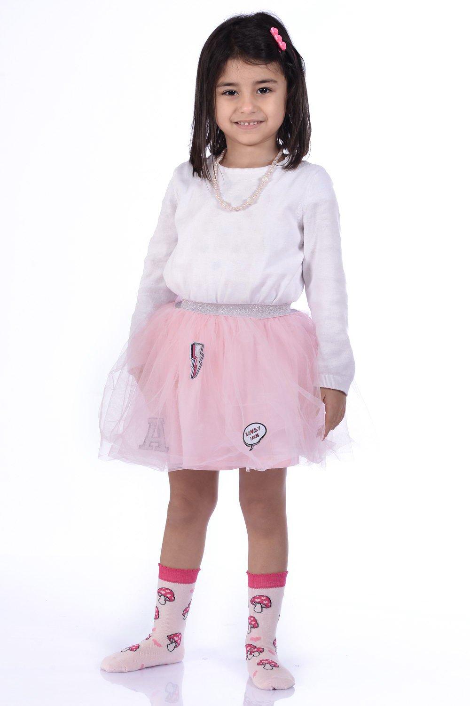 Girl's Patterned Pink Socket Socks- 3 Pairs